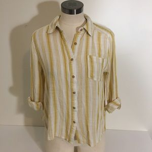 Yellow Button Up Striped Mine